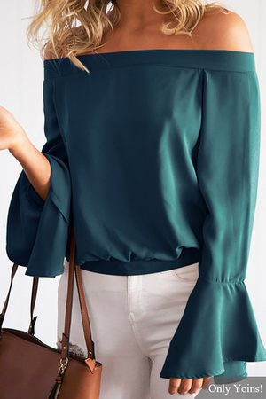 YOINS Cadetblue Sexy Off-shoulder Flared Sleeves Blouse