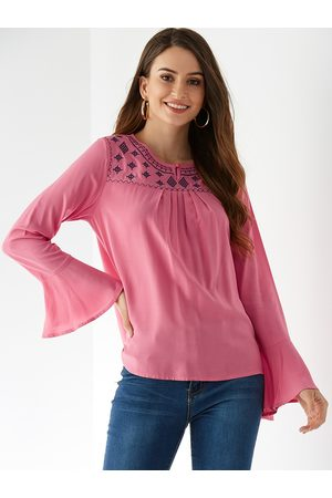 YOINS Embroidered Button Keyhole Design Long Sleeves Blouse