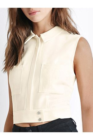 YOINS Collared Zip-Front Vest in Ivory