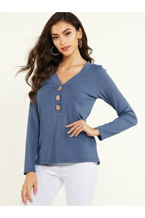 YOINS Front Button V-neck Long Sleeves Tee
