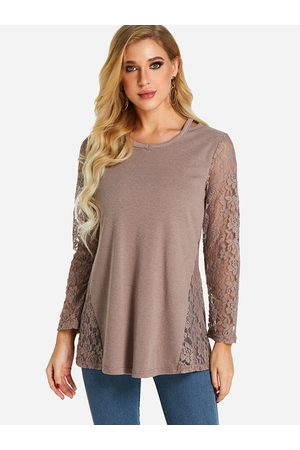 YOINS Women Long Sleeve - Coffee Lace Insert See Through Design Round Neck Long Sleeves T-shirts