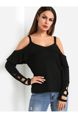 YOINS Off-The-Shoulder Ruffle Overlay Cutout Cold Shoulder Tees