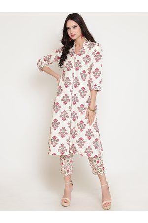 Sera Women Off-White & Pink Printed Straight Kurta