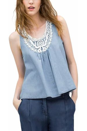 YOINS Crochet Front Denim Cami Top