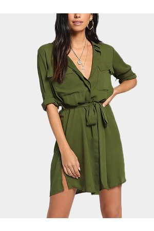 YOINS Self-tie Design V-neck Long Sleeves Shirt Dress