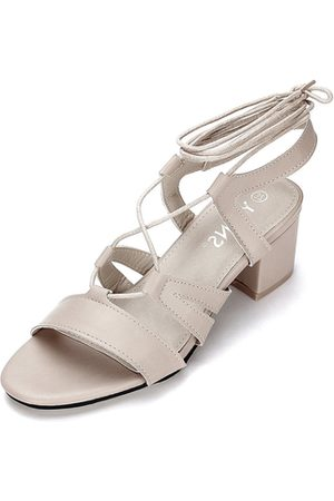 YOINS Apricot Strappy Leather Look Lace-up Block Heel Sandals