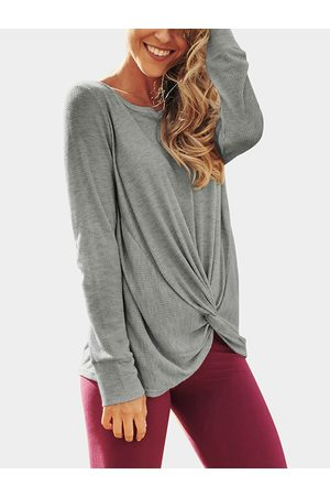 YOINS Crossed Front Design Round Neck Long Sleeves Knitted Top