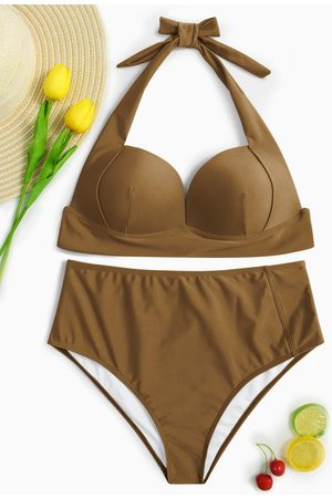 YOINS Coffee Halter V-neck Padded Design High-waist Bikini Set