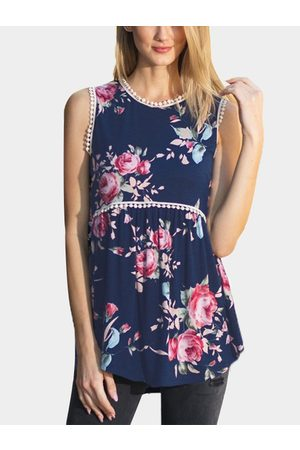 YOINS Women Vests - Random Floral Print Round Neck Top