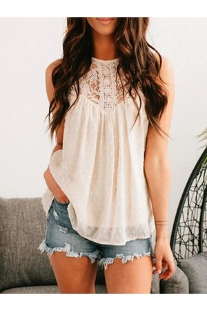 YOINS Lace Patchwork Halter Sleeveless Cami
