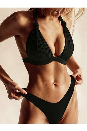 YOINS Knotted Pleated Design Halter Sleeveless Bikini Set