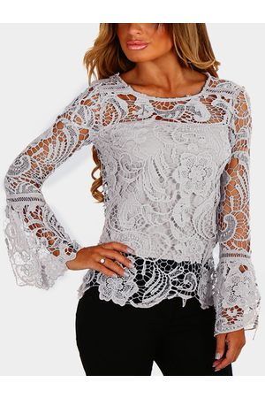 YOINS See-through Lace Details Round Neck Long Sleeves Sexy Top