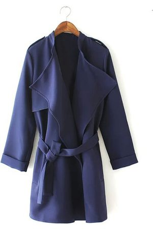 YOINS Check Out Navy Lapel Coat With Waistband