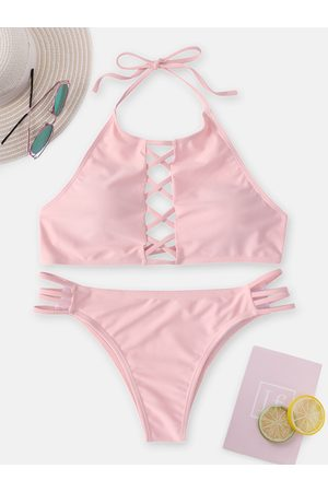 YOINS Criss Cross Halter Neck Backless Bikini Set