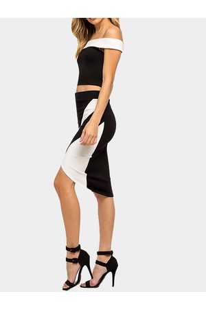 YOINS Sexy Off Shoulder Crop Top & Irregular Hem Midi Skirt Co-ord