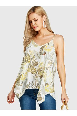 YOINS Random Leaf Print V-neck Backless Design Cami