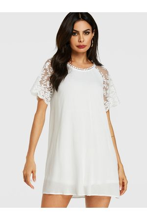 YOINS Mesh Embroidered Patchwork Short Sleeves Dress