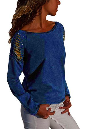 YOINS Ripped Pearls Round Neck Long Sleeves Tee