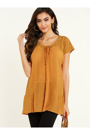 YOINS Ruched Lace Round Neck Short Sleeves Blouse