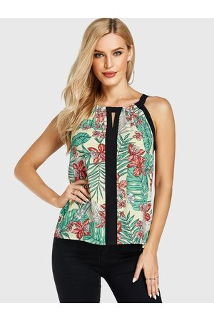 YOINS Random Floral Print Patchwork Round Neck Sleeveless Top