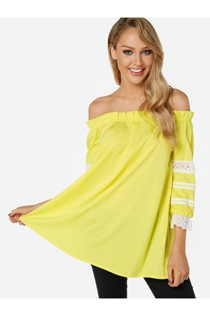 YOINS Women Tops - Yellow Lace Insert Off The Shoulder Lantern Sleeves Top