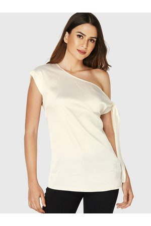 YOINS Apricot One Shoulder Short Sleeves Knotted Chiffon Blouse