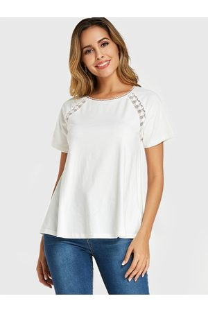 YOINS Lace Insert Round Neck Short Sleeves Tee