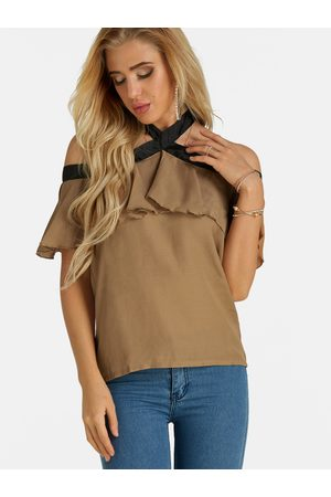 YOINS Apricot Lace-up Design Halter Short Sleeves Top