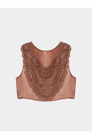YOINS Hollow Out Crop Top with Lace Insert