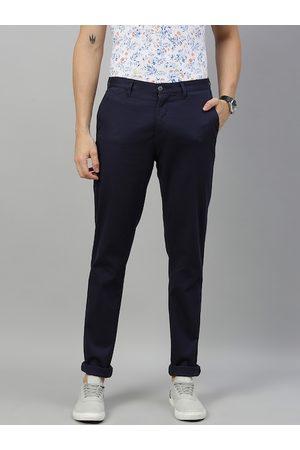 adidas Men Navy Blue Denver Slim Fit Solid Regular Trousers