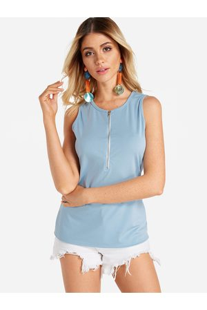 YOINS Zip Design Round Neck Tank Top