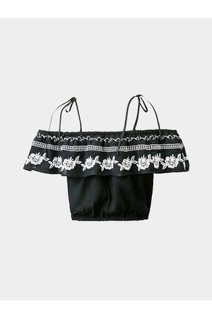 YOINS Retro A-line Embroidered Crop Top in