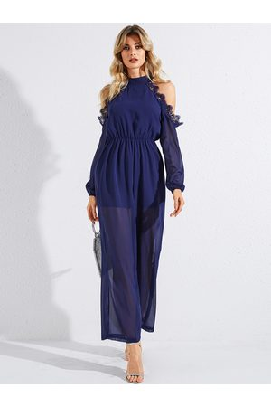 YOINS Navy Lace With Lining Chiffon Long Sleeves Jumpsuit