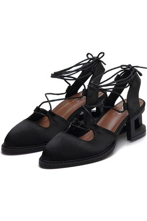 YOINS Satin Look Hollow Heel Pointed Toe Lace-up Slingback Shoes