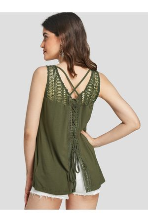 YOINS Crochet lace trim criss-cross hollow design Tank Top