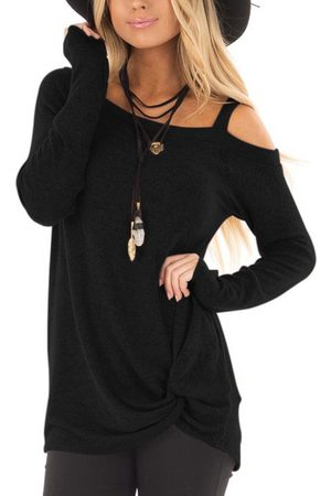 YOINS Crossed Front Design Plain One Shoulder Long Sleeves T-shirts