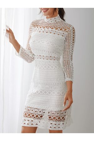 YOINS Lace Cut Out Design High Neck Long Sleeves Dress