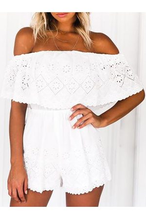 YOINS Off-The-Shoulder Lace Eyelet Playsuit in