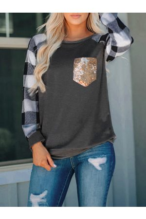 YOINS Pocket Design Check Round Neck Long Sleeves Tee