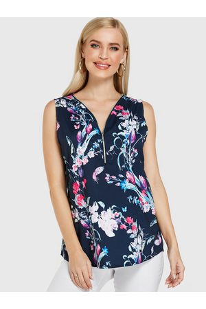 YOINS Zipper Front Floral Print V-neck Sleeveless Top
