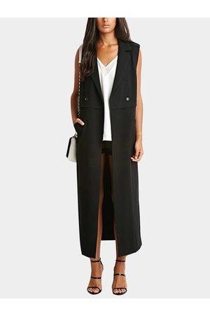 YOINS Women Trench Coats - Two Large Pockets Lapel Collar Sleeveless Trench Coat