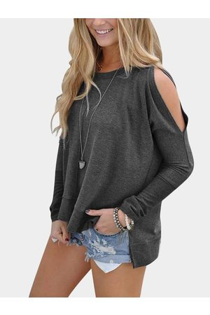 YOINS Cold Shoulder Long Sleeves Slit Tee