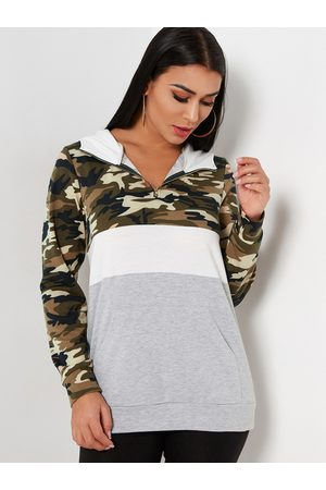 YOINS Hooded Design Camouflage V-neck Long Sleeves Color Block Sweatshirts
