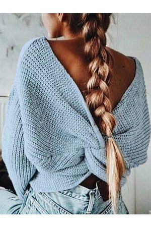 YOINS Knit V-neck Twisted Long Sleeves Crop Top