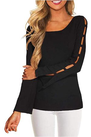 YOINS Round Neck Long Sleeves Cut Out Tee