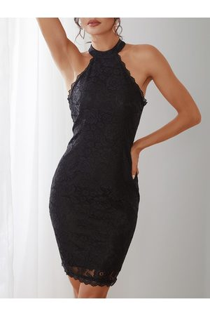 YOINS Black Halter Neck Lace Bodycon Midi Dress