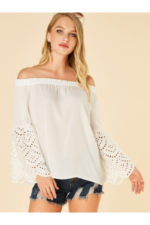 YOINS Hollow Design Off The Shoulder Bell Sleeves Tee