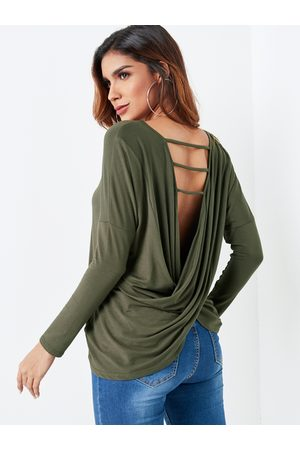YOINS Army Ladder Cut V-cross Twist Back Top