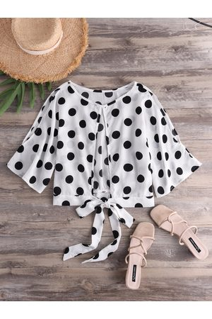 YOINS Cut Out Polka Dot Round Neck Crop Top