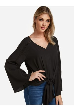 YOINS Hollow Design Plain V-neck Long Sleeves Tie-up Blouses
